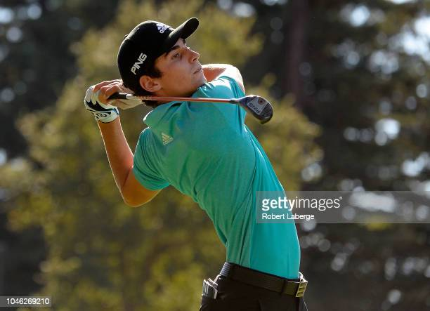Joaquin Niemann of Chile plays his shot from the 12th tee during the second round of the Safeway Open at the North Course of the Silverado Resort and...