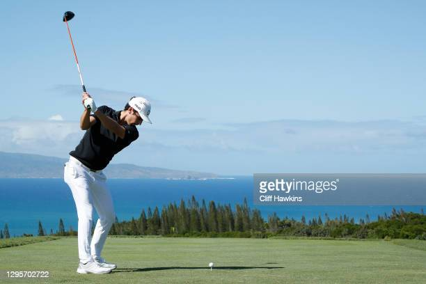 Joaquin Niemann of Chile plays his shot from the 17th tee during the final round of the Sentry Tournament Of Champions at the Kapalua Plantation...