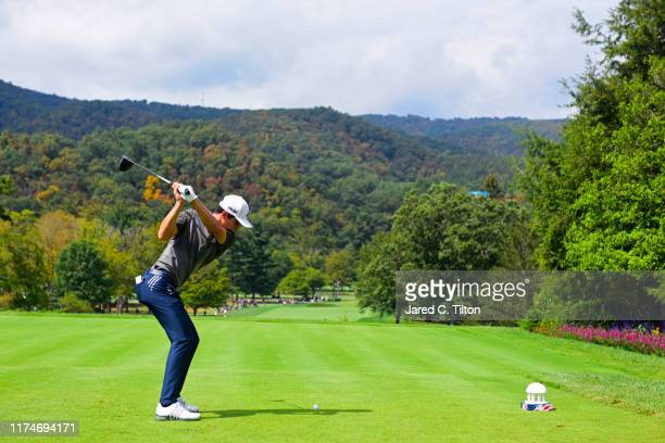 Joaquin Niemann of Chile plays his shot from the first tee during the third round of A Military Tribute At The Greenbrier held at the Old White TPC...