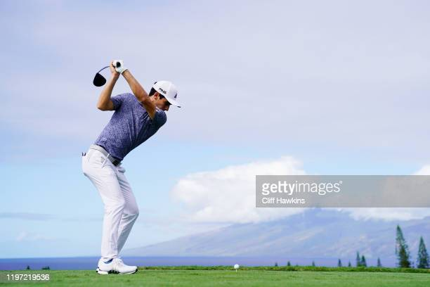 Joaquin Niemann of Chile plays his shot from the first tee during the first round of the Sentry Tournament Of Champions at the Kapalua Plantation...