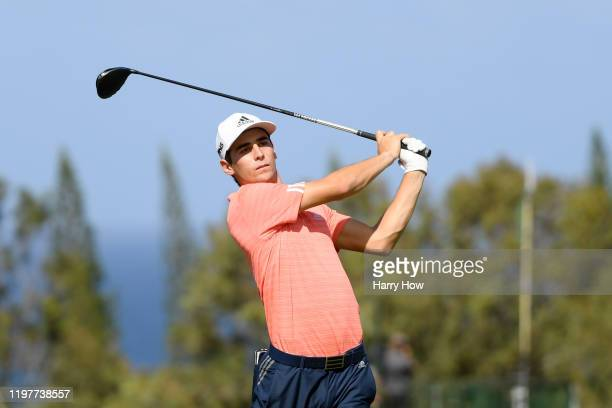 Joaquin Niemann of Chile plays his shot from the fourth tee during the final round of the Sentry Tournament Of Champions at the Kapalua Plantation...