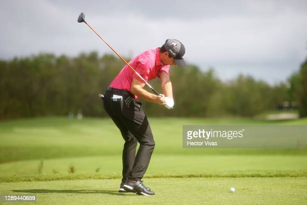 Joaquin Niemann of Chile plays his shot from the second tee during the second round of the Mayakoba Golf Classic at El Camaleón Golf Club on December...