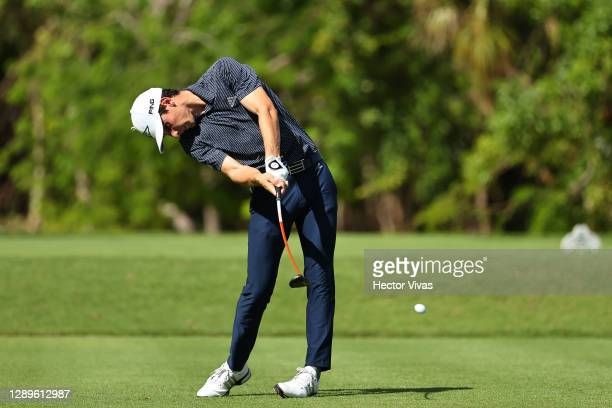 Joaquin Niemann of Chile plays his shot from the second tee during the third round of the Mayakoba Golf Classic at El Camaleón Golf Club on December...