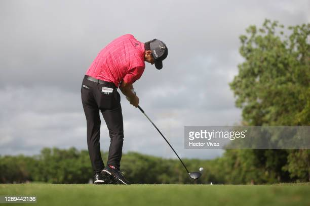 Joaquin Niemann of Chile plays his shot from the seventh tee during the second round of the Mayakoba Golf Classic at El Camaleón Golf Club on...
