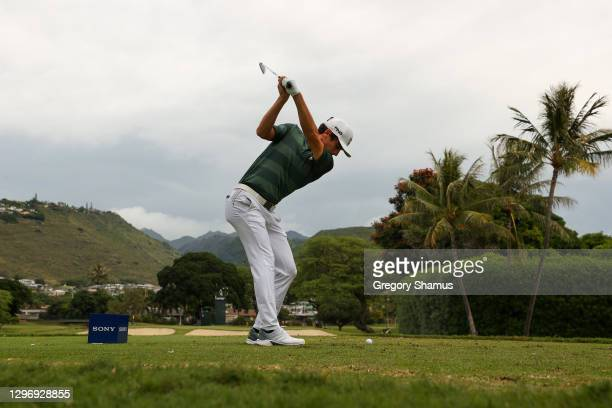 Joaquin Niemann of Chile plays his shot from the seventh tee during the final round of the Sony Open in Hawaii at the Waialae Country Club on January...
