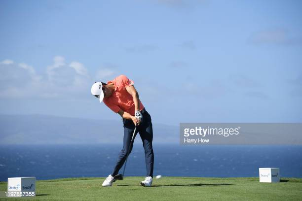 Joaquin Niemann of Chile plays his shot from the tenth tee during the final round of the Sentry Tournament Of Champions at the Kapalua Plantation...