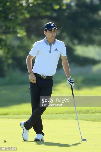 Joaquin Niemann of Chile prepares to play a shot on the 15th hole during the second round of the Quicken Loans National at TPC Potomac on June 29...
