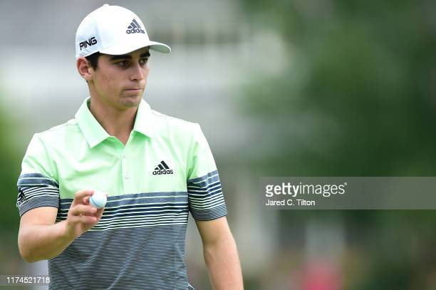 Joaquin Niemann of Chile reacts following his putt on the eighth green during the second round of A Military Tribute At The Greenbrier held at the...