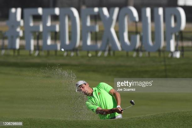 Joaquin Niemann of Chile takes a shot from the bunker on the 10th hole during the second round of the Genesis Invitational at the Riviera Country...