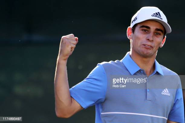 Joaquin Niemann of the Chile celebrates a birdie putt on the 18th green to win A Military Tribute at The Greenbrier held at the Old White TPC course...