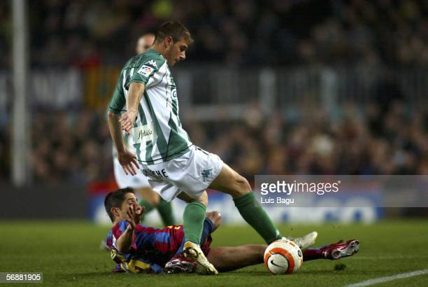Joaquin of Real Betis and Silvinho of Barcelona are seen in action during the match between FC Barcelona and Real Betis of La Liga on February 18 at...