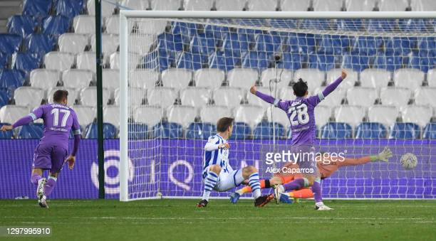 Joaquin of Real Betis scores their side's second goal during the La Liga Santander match between Real Sociedad and Real Betis at Reale Arena on...