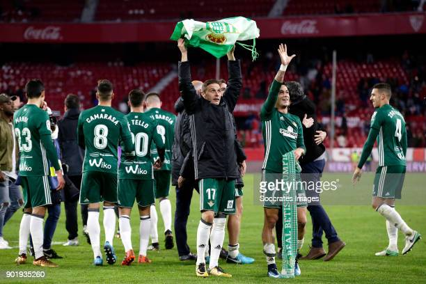 Joaquin of Real Betis Sergio Leon of Real Betis celebrates the victory during the La Liga Santander match between Sevilla v Real Betis Sevilla at the...