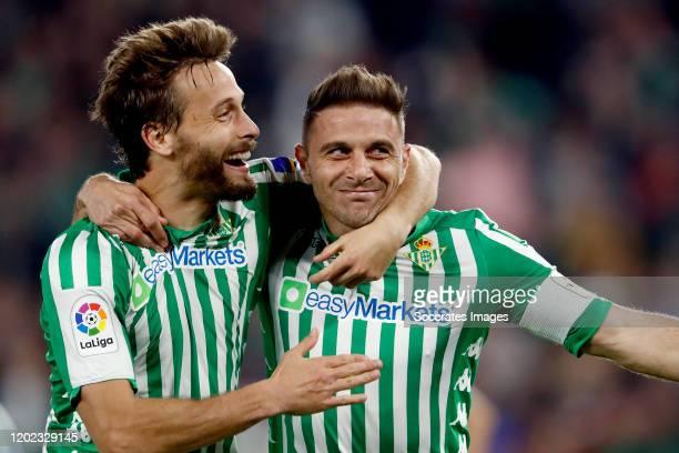 Joaquin of Real Betis Sevilla celebrates 3-2 with Sergio Canales of Real Betis Sevilla during the La Liga Santander match between Real Betis Sevilla...