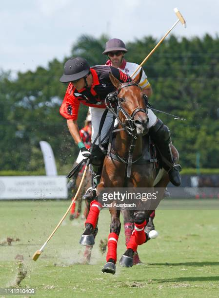 Joaquin Panelo of Postage Stamp his the ball towards the goal against Pilot during the 2019 Captive One US Open Polo Championship on April 7 2019 at...