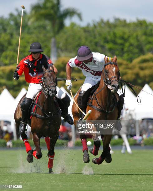 Joaquin Panelo of Postage Stamp pursue Facundo Pieres of Pilot as he brings the ball up field during the 2019 Captive One US Open Polo Championship...