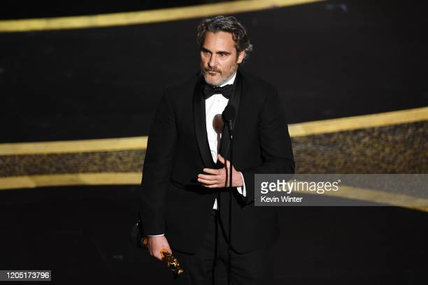 Joaquin Phoenix accepts the Actor In A Leading Role award for 'Joker' onstage during the 92nd Annual Academy Awards at Dolby Theatre on February 09...