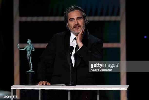 "Joaquin Phoenix accepts the Male Actor in a Leading Role award for ""Joker"" onstage during the 26th Annual Screen Actors Guild Awards at The Shrine..."