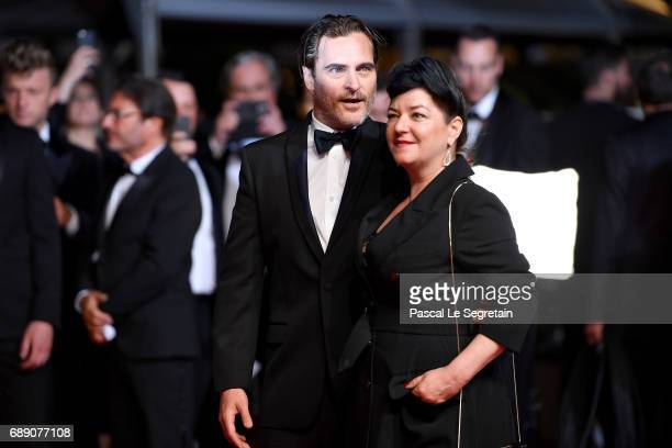 Joaquin Phoenix and director Lynne Ramsay attend the 'You Were Never Really Here' screening during the 70th annual Cannes Film Festival at Palais des...