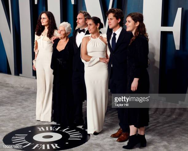 Joaquin Phoenix and family attend the Vanity Fair Oscar Party at Wallis Annenberg Center for the Performing Arts on February 09 2020 in Beverly Hills...