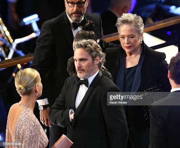 Joaquin Phoenix and Kathy Bates attend the 92nd Annual Academy Awards at Hollywood and Highland on February 09, 2020 in Hollywood, California.