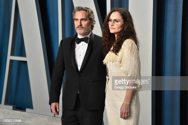 Joaquin Phoenix and Rain Phoenix attend the 2020 Vanity Fair Oscar Party hosted by Radhika Jones at Wallis Annenberg Center for the Performing Arts...