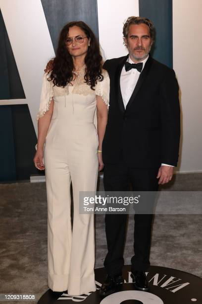 Joaquin Phoenix and Rain Phoenix attend the 2020 Vanity Fair Oscar Party at Wallis Annenberg Center for the Performing Arts on February 09 2020 in...