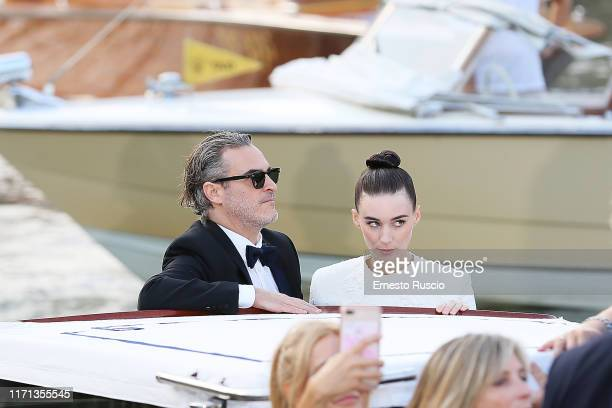 Joaquin Phoenix and Rooney Mara are seen arriving at the 76th Venice Film Festival on August 31 2019 in Venice Italy