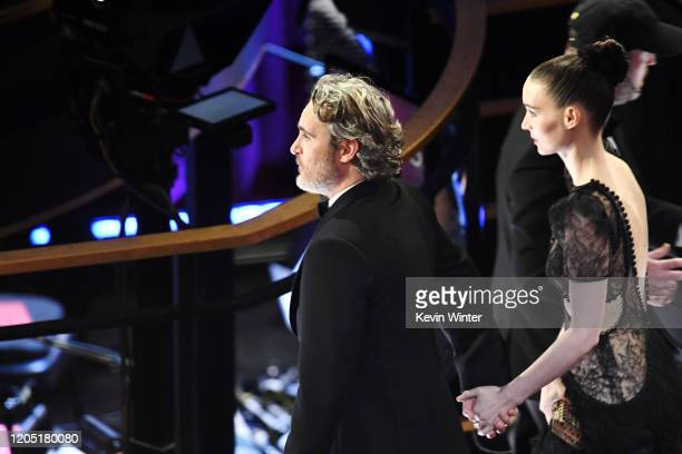 Joaquin Phoenix and Rooney Mara attend the 92nd Annual Academy Awards at Dolby Theatre on February 09 2020 in Hollywood California
