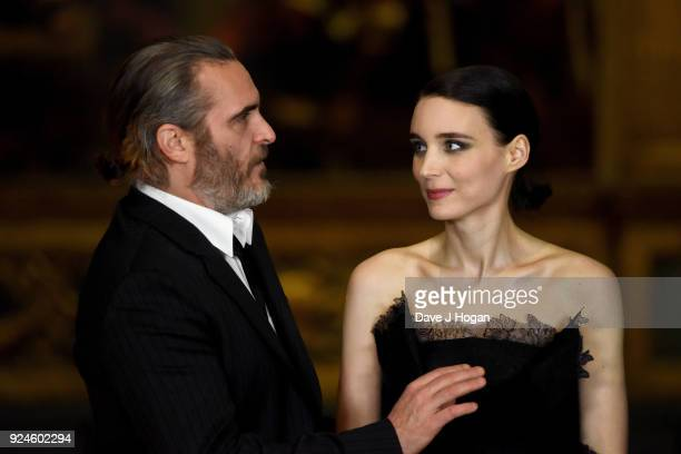 Joaquin Phoenix and Rooney Mara attend the 'Mary Magdalene' special screening held at The National Gallery on February 26 2018 in London England