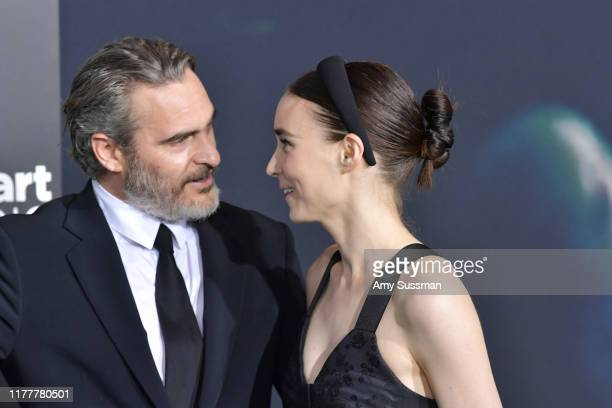 Joaquin Phoenix and Rooney Mara attend the premiere of Warner Bros Pictures Joker on September 28 2019 in Hollywood California