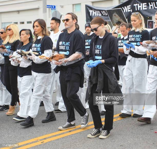 Joaquin Phoenix and Rooney Mara lead a procession for National Animal Rights Day on June 2 2019 in Los Angeles California