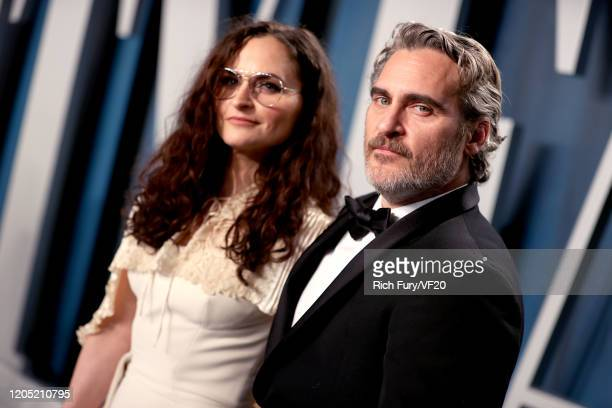 Joaquin Phoenix and sister Rain Phoenix attends the 2020 Vanity Fair Oscar Party hosted by Radhika Jones at Wallis Annenberg Center for the...