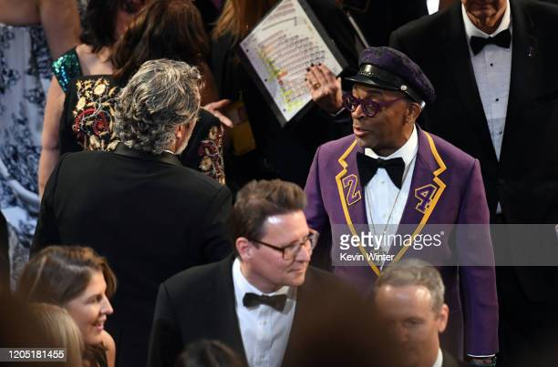Joaquin Phoenix and Spike Lee attend the 92nd Annual Academy Awards at Dolby Theatre on February 09, 2020 in Hollywood, California.