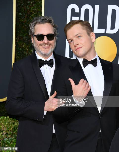 Joaquin Phoenix and Taron Egerton attend the 77th Annual Golden Globe Awards at The Beverly Hilton Hotel on January 05 2020 in Beverly Hills...