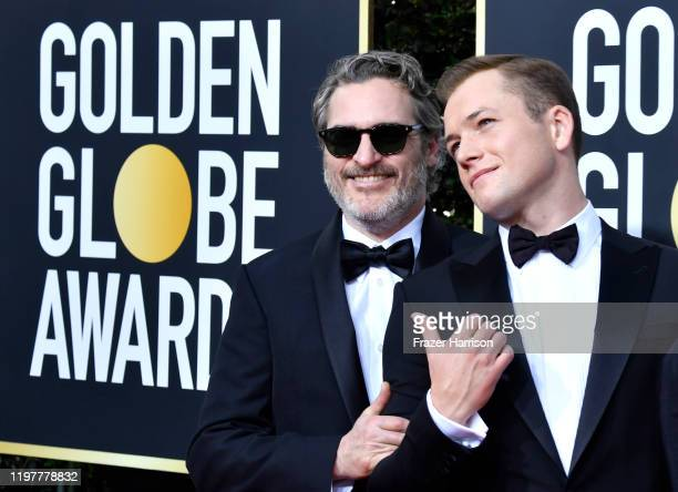 Joaquin Phoenix and Taron Egerton attends the 77th Annual Golden Globe Awards at The Beverly Hilton Hotel on January 05 2020 in Beverly Hills...