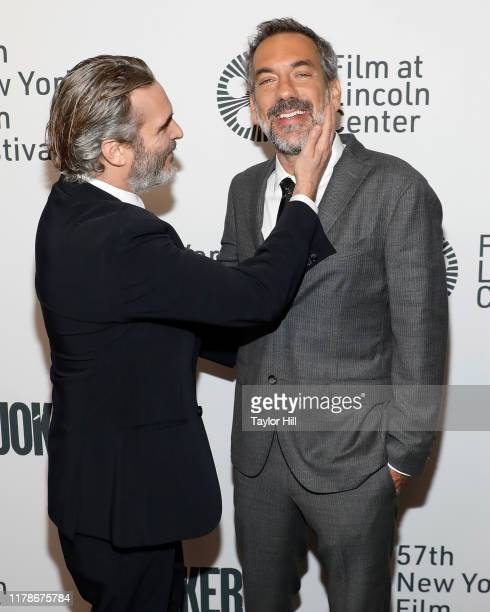 Joaquin Phoenix and Todd Phillips attend a New York screening of Joker during the 57th annual New York Film Festival at Alice Tully Hall Lincoln...