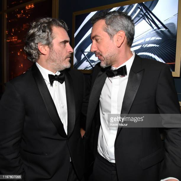 Joaquin Phoenix and Todd Phillips attend The 2020 InStyle And Warner Bros 77th Annual Golden Globe Awards PostParty at The Beverly Hilton Hotel on...