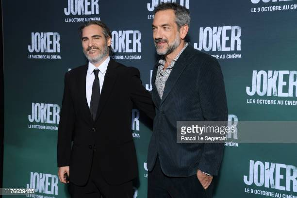 Joaquin Phoenix and Todd Phillips attend the Joker Premiere at cinema UGC Normandie son September 23 2019 in Paris France
