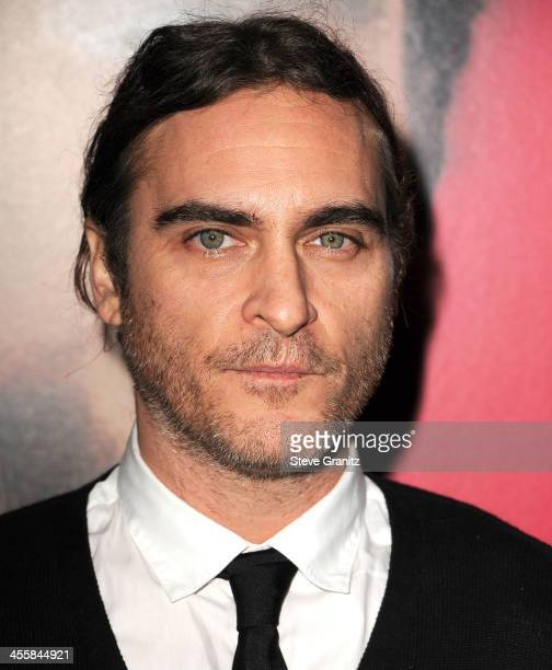 Joaquin Phoenix arrives at the 'Her' Los Angeles Premiere Arrivals at Directors Guild Of America on December 12 2013 in Los Angeles California