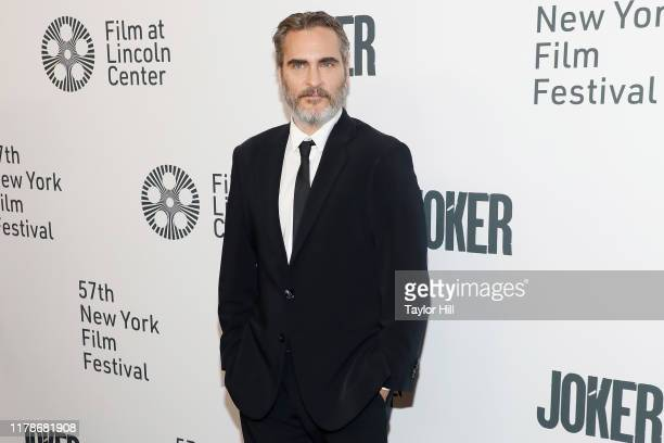 Joaquin Phoenix attends a New York screening of Joker during the 57th annual New York Film Festival at Alice Tully Hall Lincoln Center on October 02...