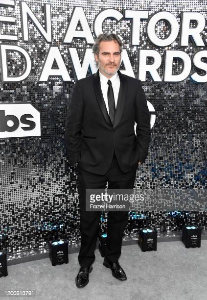Joaquin Phoenix attends the 26th Annual Screen ActorsGuild Awards at The Shrine Auditorium on January 19 2020 in Los Angeles California
