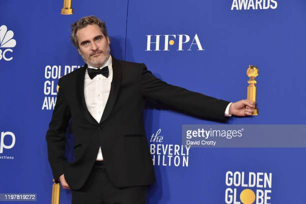 Joaquin Phoenix attends The 77th Golden Globes Awards Press Room at The Beverly Hilton Hotel on January 05 2020 in Beverly Hills California