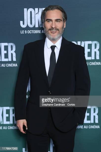 Joaquin Phoenix attends the Joker Premiere at cinema UGC Normandie son September 23 2019 in Paris France