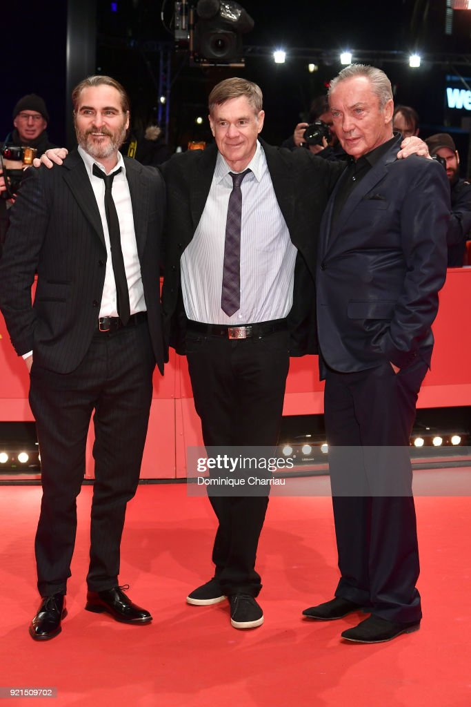 Joaquin Phoenix, Gus Van Sant and Udo Kier attend the 'Don't Worry, He Won't Get Far on Foot' premiere during the 68th Berlinale International Film Festival Berlin at Berlinale Palast on February 20, 2018 in Berlin, Germany.