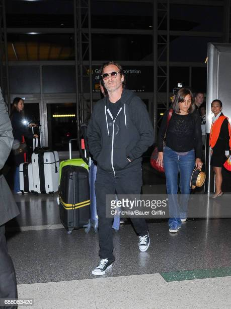 Joaquin Phoenix is seen at Los Angeles International Airport on May 24 2017 in Los Angeles California