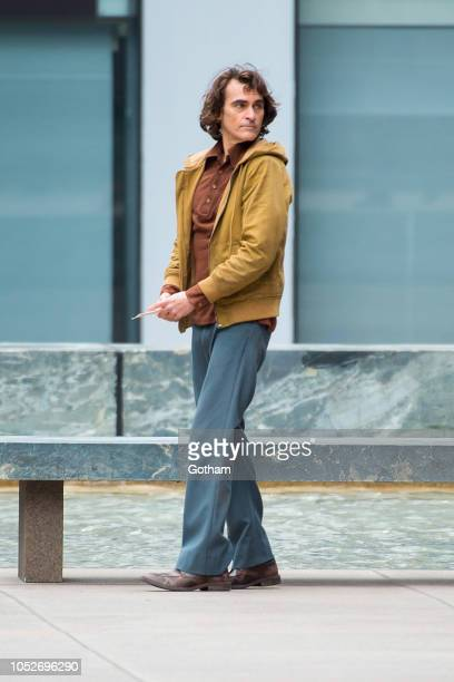 Joaquin Phoenix is seen filming a scene for 'The Joker' in Midtown on October 21 2018 in New York City