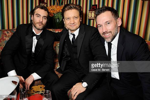 Joaquin Phoenix Jeremy Renner and guest attend The Weinstein Company and Entertainment Film Distributors PostBAFTA Party hosted by Chopard and Grey...