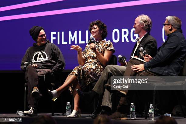 Joaquin Phoenix, Molly Webster and Mike Mills take part in a Q&A for 'C'mon C'mon' during the 59th New York Film Festival at Alice Tully Hall on...