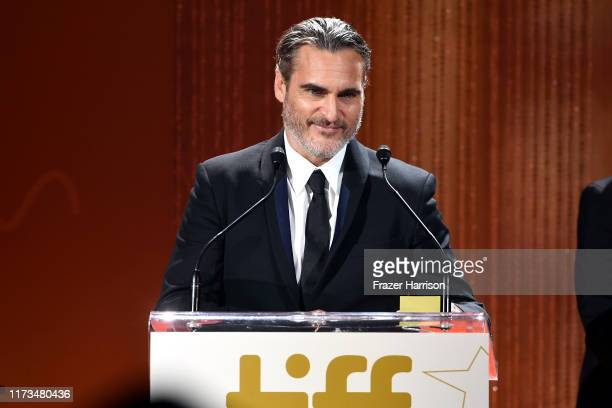 Joaquin Phoenix receives the TIFF Tribute Actor Award during the 2019 Toronto International Film Festival TIFF Tribute Gala at The Fairmont Royal...